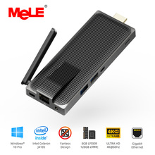 Intel Celeron J4105 8GB 128GB Fanless Mini PC Windows 10 Pro MeLE PC Stick Mini-Computer HDMI 4K 2.4/5GHz WiFi Gigabit LAN