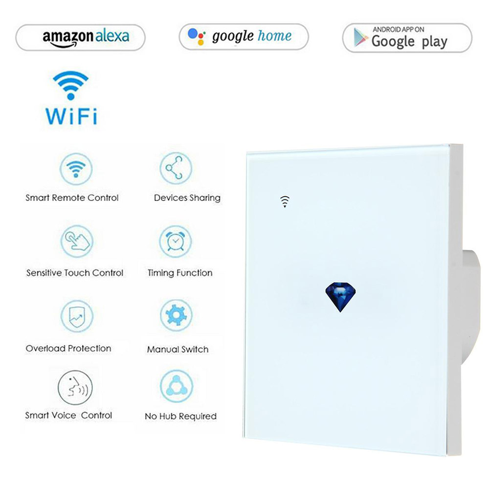 Teekar Wall Touch Sensor Smart Switch,EU/UK Standard Light Switch,switch Power,Glass Panel,For Alexa Google Home Diamond Pattern