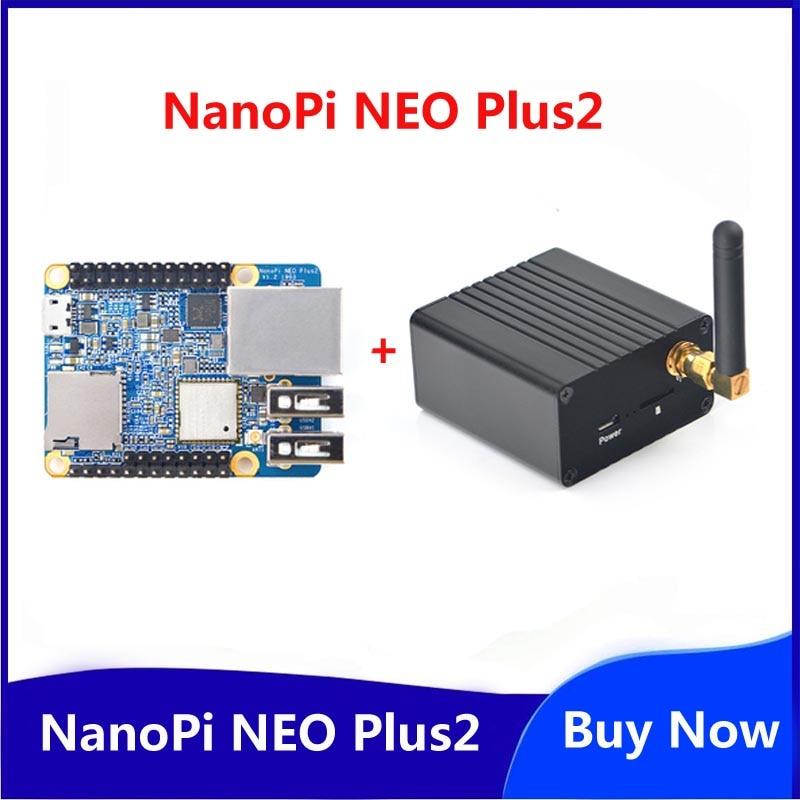 Friendly NanoPi NEO Plus2 All-in-one H5, Gigabit Ethernet Port IoT Development Board WiFi Bluetooth With Metal Case+Heatsink