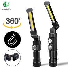 Multi função dobrável luz de trabalho recarregável usb built-in bateria cob led lanterna luzes de acampamento tocha lanterna