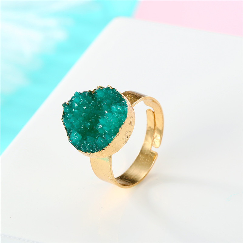 BELLAHYDIARY Round Pink Green Purple Resin Adjustable Ring Women Gifts Wedding Rings For Women Accessories Jewelry Jewellery R32