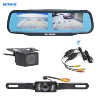DIYSECUR Wireless Dual 4.3 Screen Rearview Car Mirror Monitor + Waterproof Car Rear View Reverse Backup Car Camera