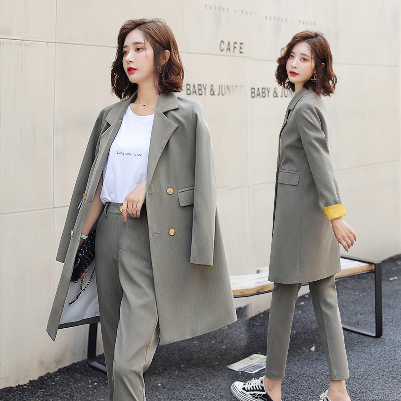 Casual Long Women's Suits Pants Suit Autumn New Slim Double-breasted Ladies Jacket Blazer Female Office Suit Pants Two-piece