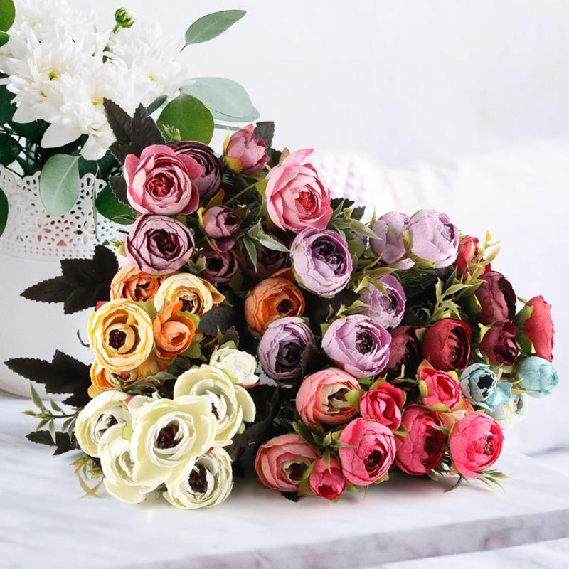 9 Peonies Silk Rose Artificial Flowers Fake Flowers Fashionable Home Supplies Table Ornament Home Furnishing Decoration