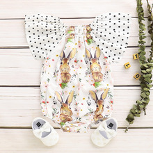 Ish popular baby children's short sleeve cute little rabbit Romper summer European and American funny wave point baby clothes adult ish