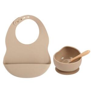New Colors Feeding set Food Grade Silicone Bibs Baby Plate Non-silp Suction Bowl Kids Tableware Waterproof Bib BPA Free Spoon