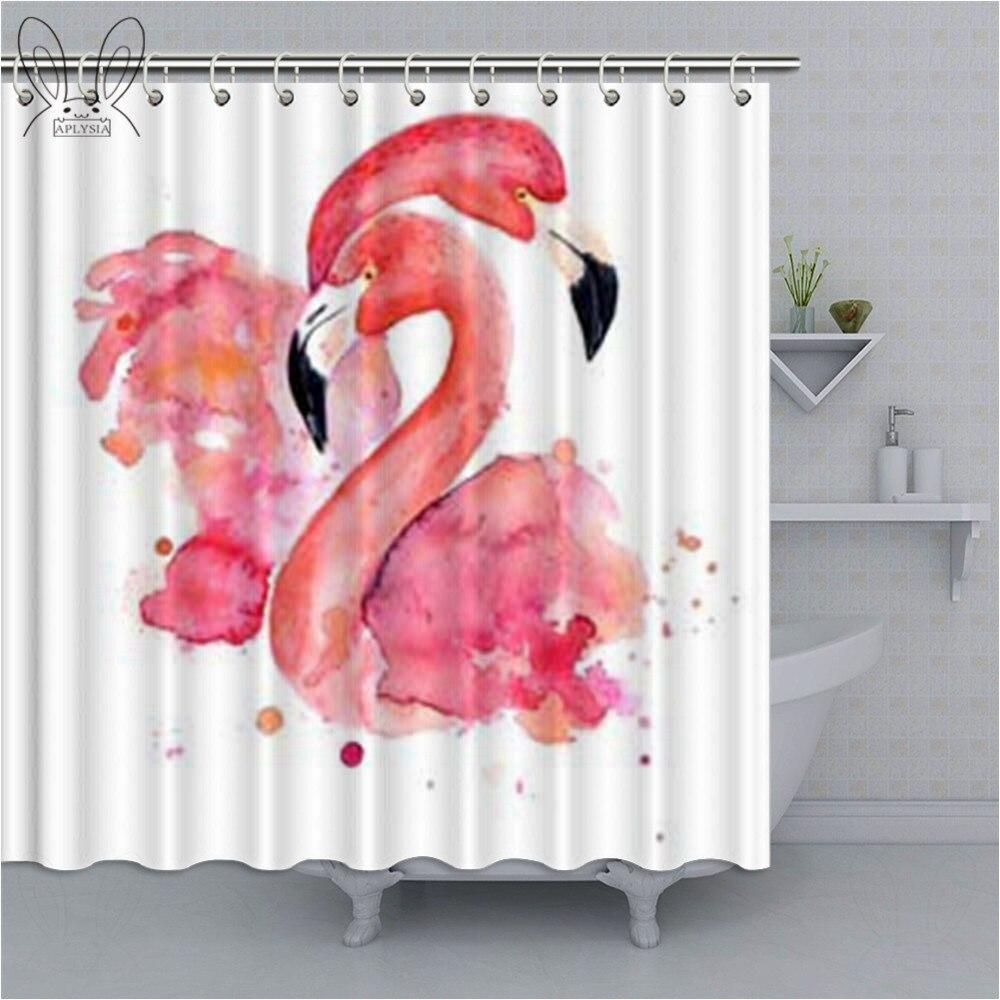 loving couple of pink flamingo shower curtain watercolor animal bathroom curtain polyester fabric bath curtain home decor sets