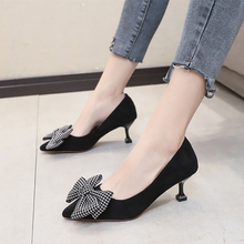 Fairy gentle pointed bow stilettos small fresh women's shoes light comfortable o