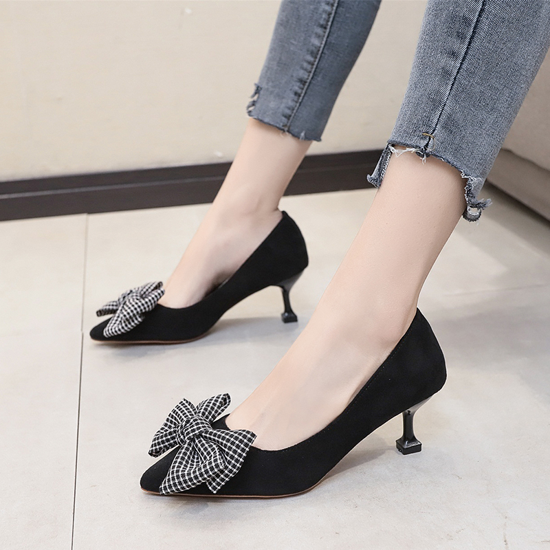 Fairy Gentle Pointed Bow Stilettos Small Fresh Women's Shoes Light Comfortable Outdoor Simple Women's Shoes W32-04