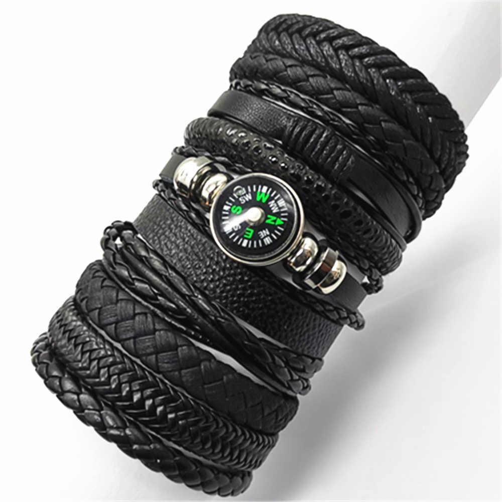 10 pçs/set preto wrap tecido nova moda artesanal homens pulseiras masculino feminino pulseira de couro dos homens pulseira atacado jóias presente