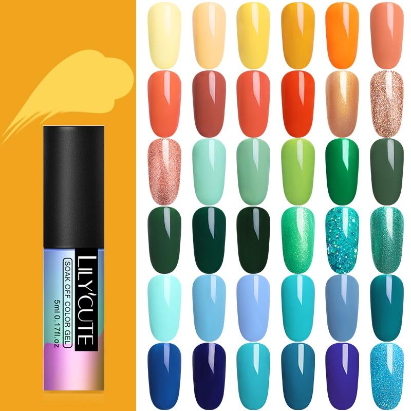 LILYCUTE 5 ml Puro Verniz Gel Cor Híbrido Gel Polish Manicure para Unhas Design Brilhante Sorte Verde Amarelo Cores UV unha Polonês