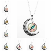 2019 New Cartoon Romantic Cute Bird Pattern Series Glass Cabochon Pendant Moon Necklace Girl Jewelry Gift