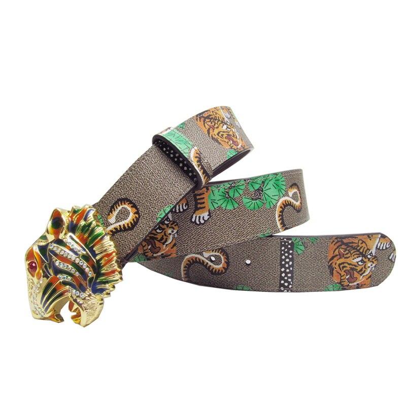 Image 2 - Western Rhinestone Tiger Alloy Buckle Tiger Print Leather Men Belt Fashion Jeans Causal Pants Men BeltMens Belts   -