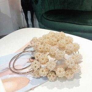 Image 3 - Aushöhlen Perle Ball Abend Tasche Frauen 2019 Koreanische Handmade Metallic Ring Griff Damen Perlen abend Kupplung Tasche Geldbörsen Gold