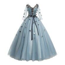 Quinceanera vestidos 2021 manga comprida com decote em v applique flor vestidos de 15 anos quinceanera vestido de baile