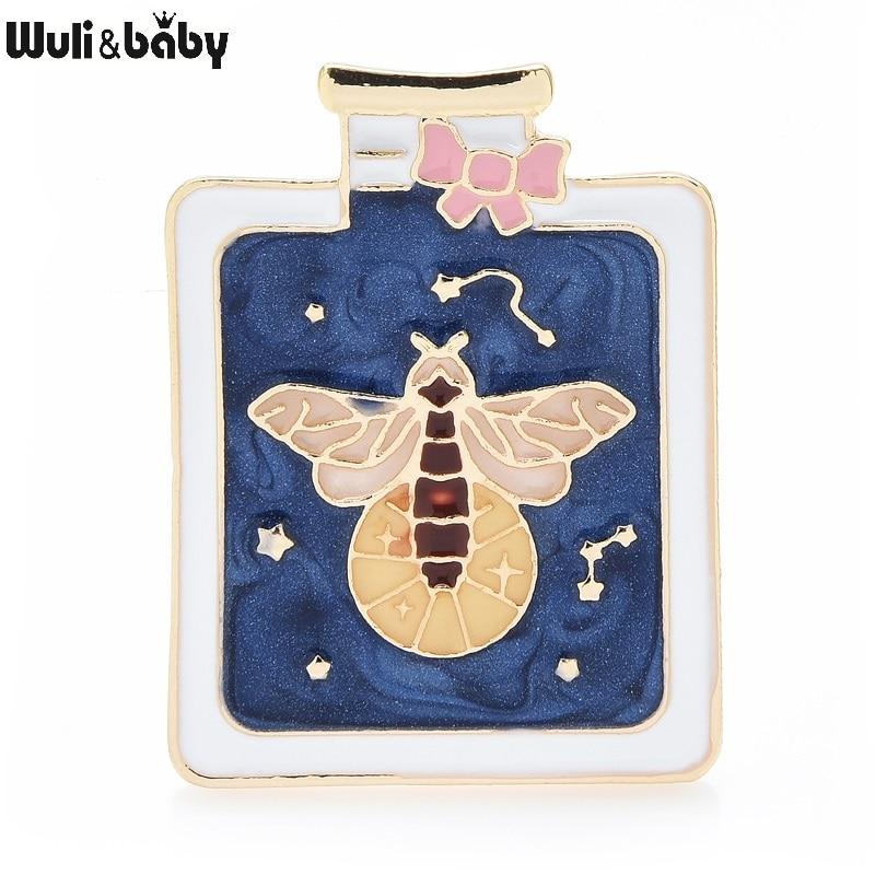 Wuli & baby эмалированная светящаяся блестящая пчела в бутылке ювелирные изделия Броши заколки для женщин и детей подарок 2021 новый год модный зн...