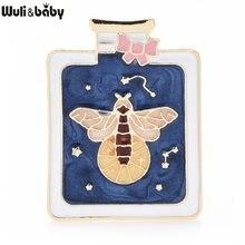 Wuli & bebê esmalte luminoso brilhante abelha na garrafa jóias broches pinos para mulher e criança presente 2021 ano novo moda distintivo