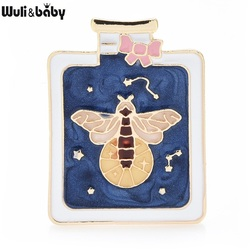Wuli&baby Enamel Luminous Glowworm Bee in Bottle Jewelry Brooches Pins For Women And Child Gift 2021 New Year Fashion Badge