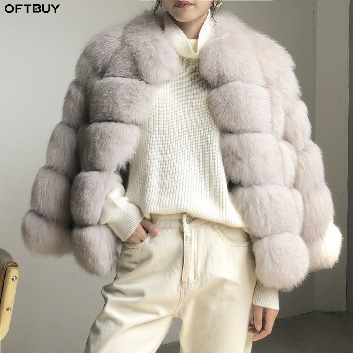 OFTBUY 2019 Real Fur Coat Winter Jacket Women Natural Fox Fur Thick Warm Streetwear Casual Female Outerwear Korea Fashion Brand