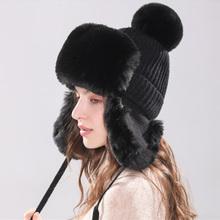 Zima kobiety Bomber czapki mężczyźni dzianiny ciepłe zagęszczony ucha klapy czapki zimowe dla kobiet Faux kapelusz z futra króliczego czapki czapki nowy 2019 tanie tanio Naiveroo Unisex Dla dorosłych Stałe Kapelusze bomber Poliester Faux leather