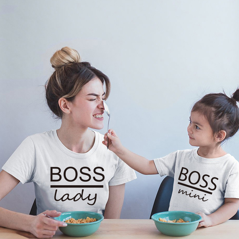 The Boss Lady And Boss Mini Print Family Matching Tshirt Cotton Mom Kids Baby Girls Boys Cute Tops Lovely Soft Heart Print Tops