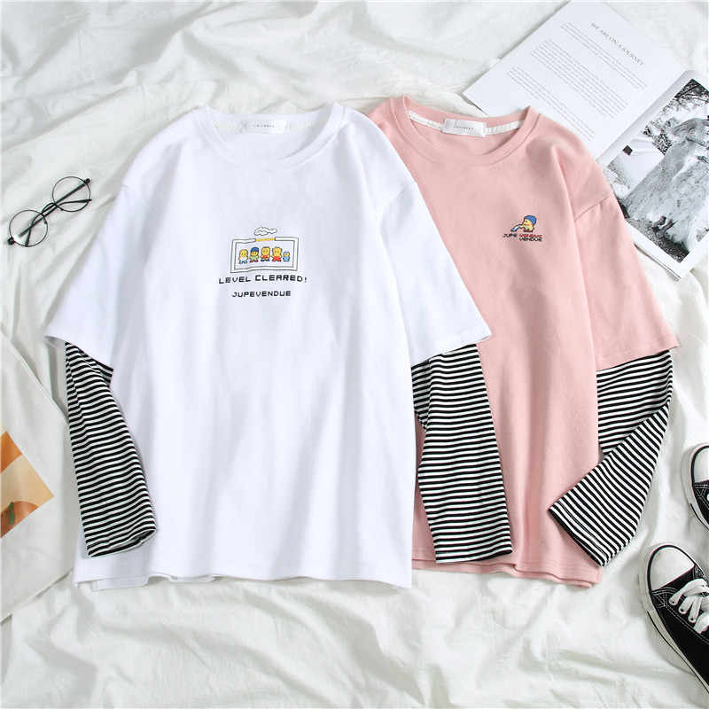 harajuku long Sleeve T-shirt Women Hip-hop Ulzzang Tees Korean Style letter print T-shirts Girls autumn Fashion black white tops