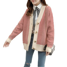 Autumn New Sweater Cardigan Single-Breasted Stripe V-neck Coat Winter Casual Loose Ladies Wild