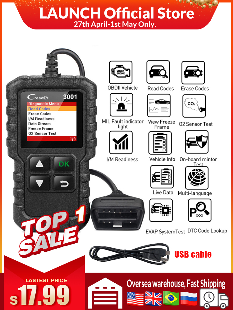 LAUNCH Code-Reader Car-Diagnostic-Tool Update Obdii-Engine ELM327 Full-Obd2-Scanner CR3001