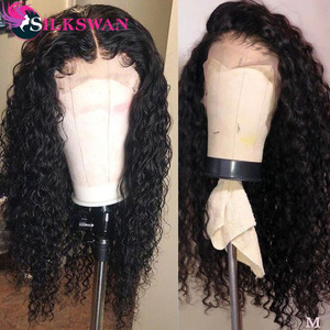 Water Wave 13x4 Lace Front Wigs Silkswan PrePlucked Hairline 150% Brazilian Remy Hair Wigs With Baby Hair Natural Color Hair wig(China)