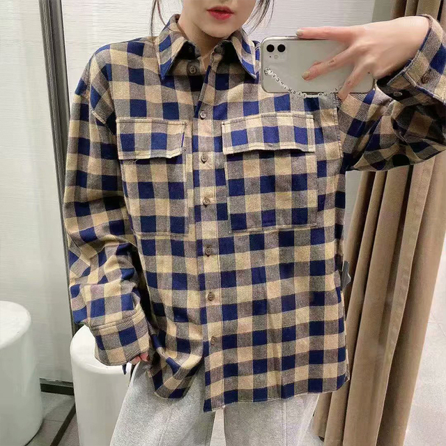 ZA 2020 New Fashion Women Plaid printing chiffon shirt Turn down Collar Blouses Long Sleeve Chiffon Shirt Casual Loose Tops 5
