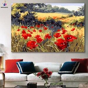 DIY kleurstoffen foto's nummers met kleuren Rode papaver bloem veld foto tekening schilderij van nummers omlijst Home