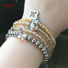Cxqd Модный Эластичный браслет из нержавеющей стали с кристаллами