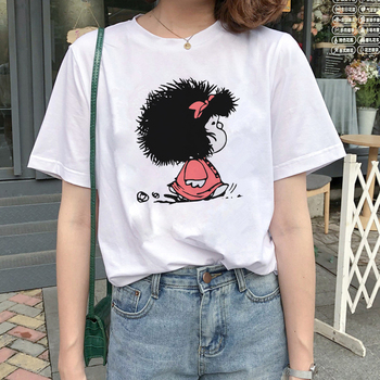 Cute Cartoon Toda Mafalda t shirt women Harajuku letter print Short Sleeve fashion Kawaii Creativity Casual Girl Streetwear Tops