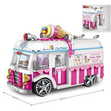hot LegoINGlys technic creators vehicles Ice cream van truck micro diamond building blocks car model nano bricks toys for gifts