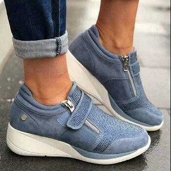 Обувь на танкетке; Женские кроссовки на молнии; Кроссовки на платформе; Женская обувь; Повседневная обувь на шнуровке; Tenis Feminino Zapatos De Mujer; Жен...
