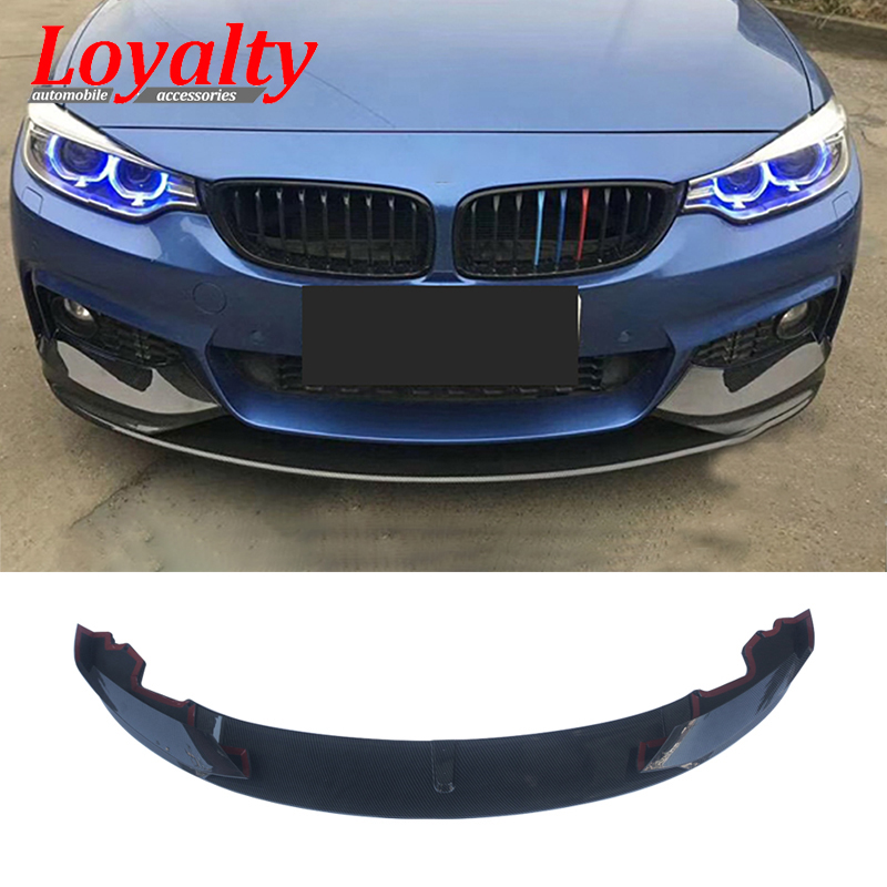Carbon Fiber MotorFansClub 3pcs Front Bumper Lip M Sport for BMW F32 F36 F33 4 Series 2014-2018 Splitter Trim Protection Spoiler