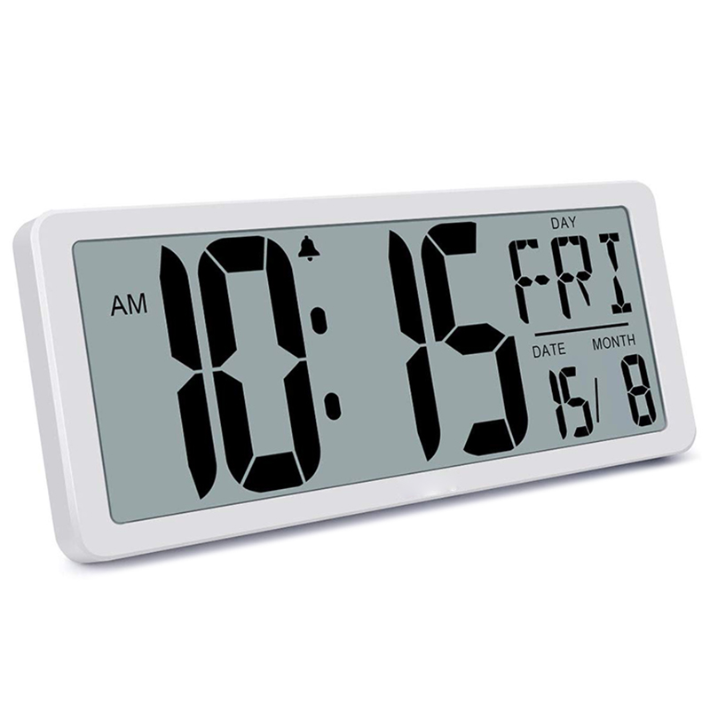 Large Digital Wall Clock, Electronic Alarm Clocks for Bedroom Home Decor, Count Up & Down Timer, 14.17 Inch Large LCD Screen wit