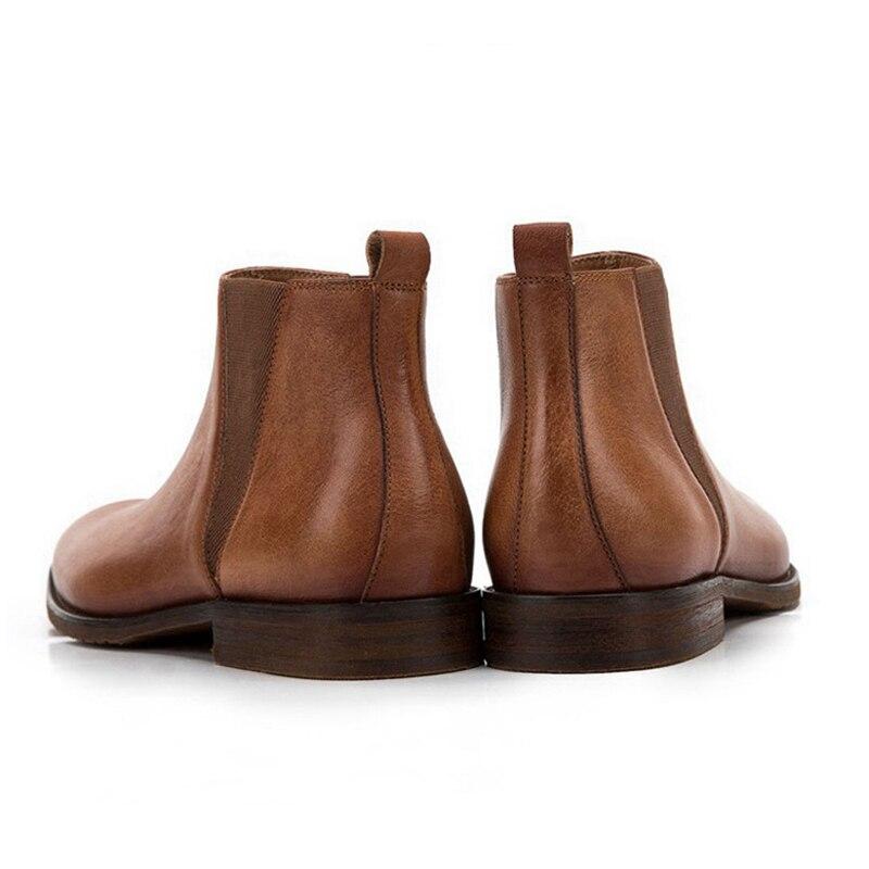 Модные мужские ботинки «Челси» ручной работы; обувь для верховой езды из натуральной кожи с острым носком; удобные мужские ботильоны с высо... - 3