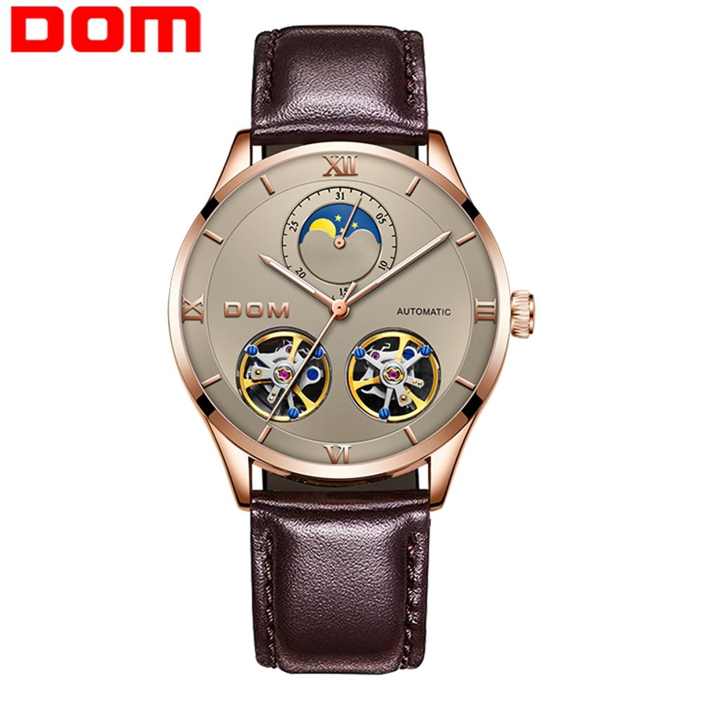 DOM Mens Watches Top Brand Luxury Automatic Mechanical Watch Men Sport Wristwatch Mens  Tourbillon Men Leather Watch M-1270GL-5M