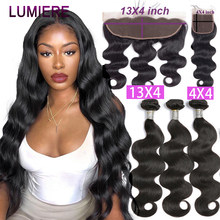 Mèches péruviennes Remy avec Closure – Lumiere Hair, tissage en lot, Body Wave, avec Frontal Closure