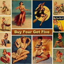 Wall-Stickers Posters Prints Vintage Decoration Kraft And Paper for Home-Bar-Decor Pin-Up-Girl