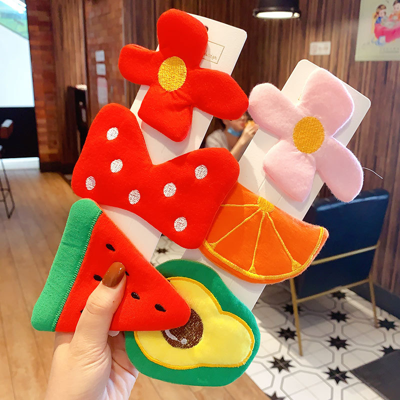 Children Cute Colorful Cotton Flower Bow Fresh Fruit Barrettes Hairpins Girls Lovely Ornament Hair Clips Kids Hair Accessories