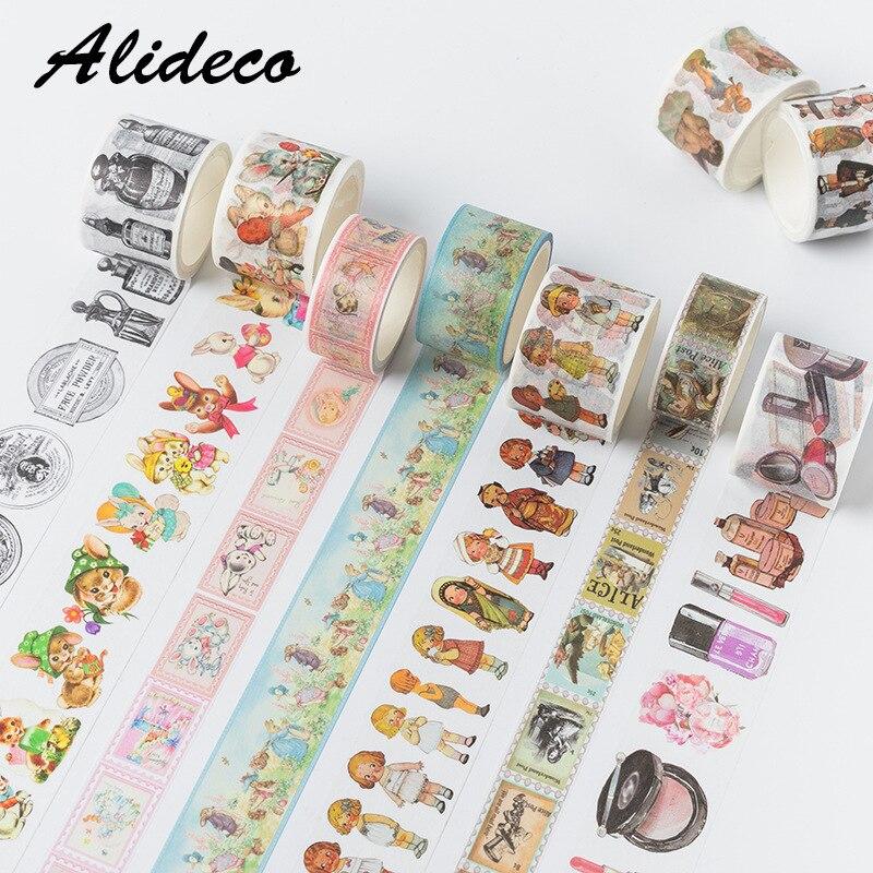 10pcs/1lot Washi Masking Tapes Easter Party Animals Decorative Adhesive Scrapbooking DIY Paper Japanese Stickers 5M