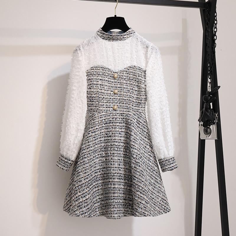 Винтажное платье с кисточками во французском стиле, белое платье с длинным рукавом в стиле пэтчворк, клетчатое твидовое офисное платье А силуэта на осень 2019 Платья      АлиЭкспресс