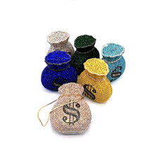 Mais novo luxo feminino festa à noite designer engraçado dólar rico oco cristal garras bolsas bolsa dólar dinheiro saco