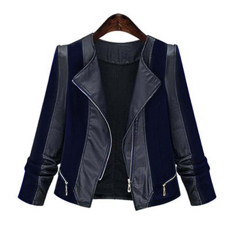 5XL Leather Women Coat Jacket Plus Size Patchwork Motorcycle Overcoat For Female Fashion Zipper Lady Outerwear Veste Femme D25