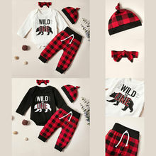0-18 Months Toddler Baby Boy Girl Clothes Hat Headband White And Black Tops Red Plaid Trousers Kids Sets