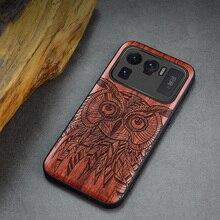 Carveit per Xiaomi Mi 11 Lite Ultra Pro custodie in legno Cover in legno originale intagliato conchiglia sottile lusso bordo morbido accessorio telefono scafo