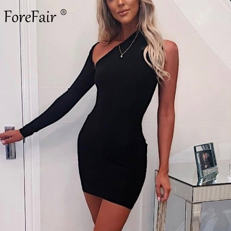 Forefair One Shoulder Sexy Bodycon Dress Autumn Winter 2019 Backless Party Evening Mini Gray Red Black White Women Club Dress