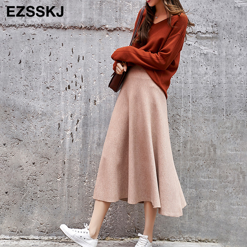 Vintage Autumn Winter Women Thick Sweater Umbrella Skirt High Waist  Midi Knitted Skirt A-line Female Solid Elegant Skirts